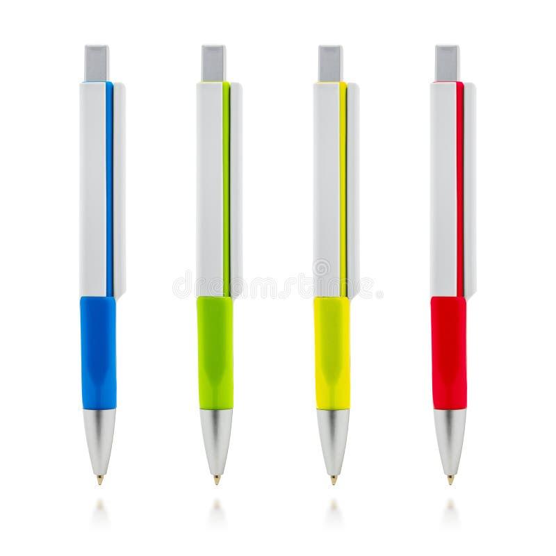 Kleurrijke die pen op witte achtergrond wordt ge?soleerde Malplaatje van ballpoint voor uw ontwerp stock illustratie