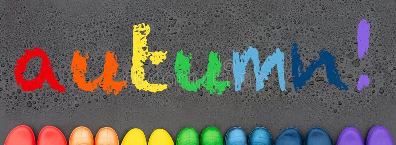 Kleurrijke die rubberlaarzen met regenboogkleuren worden gevoerd op de zwarte oppervlakte voor regendruppels royalty-vrije stock foto