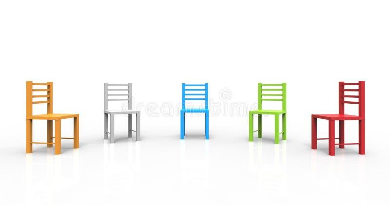 Kleurrijke die stoelen op witte achtergrond worden geïsoleerd Betekent samenkomend, plicht, bespreken 3D Illustratie stock illustratie