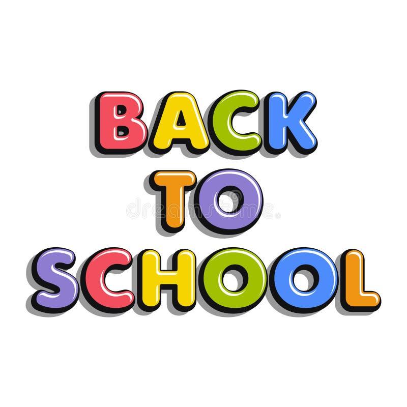 Kleurrijke die tekst terug naar School op witte achtergrond wordt geïsoleerd vector illustratie