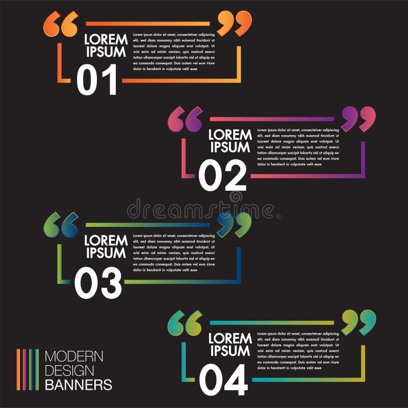 Kleurrijke die toespraakbanners voor citaatvakje kader op zwarte achtergrond wordt geplaatst Textingsdozen Van het ontwerpdozen v stock illustratie