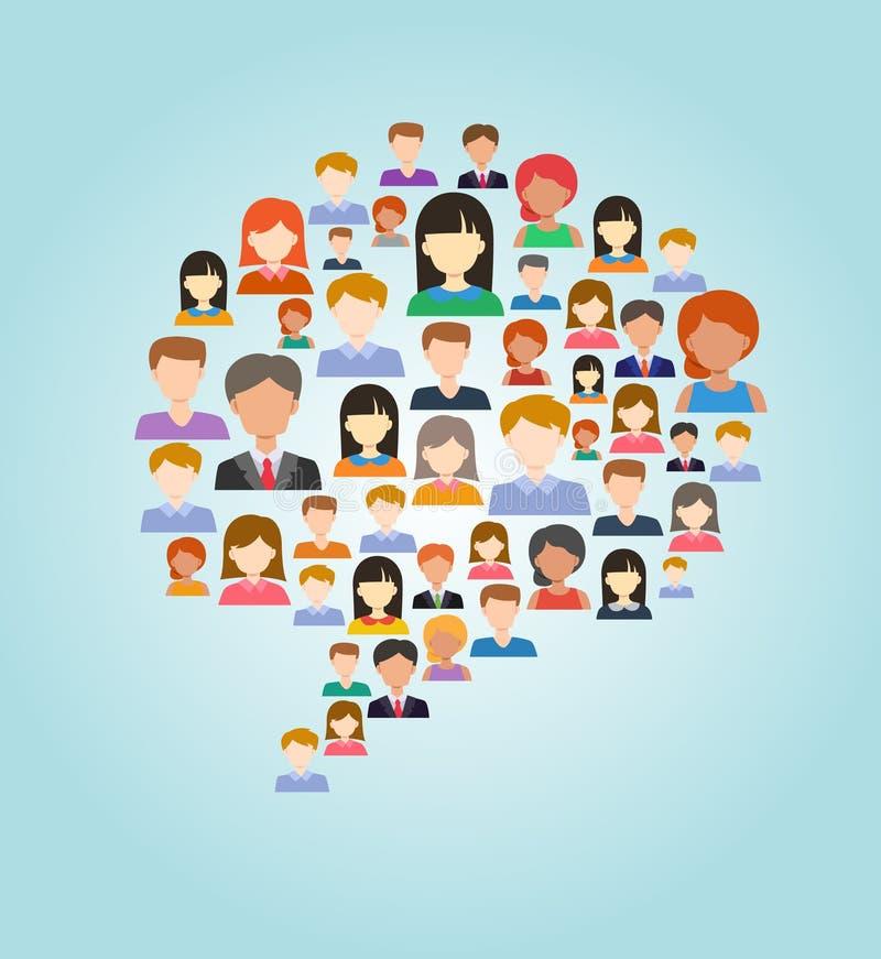 Kleurrijke die toespraakbel van mensen wordt gemaakt vector illustratie
