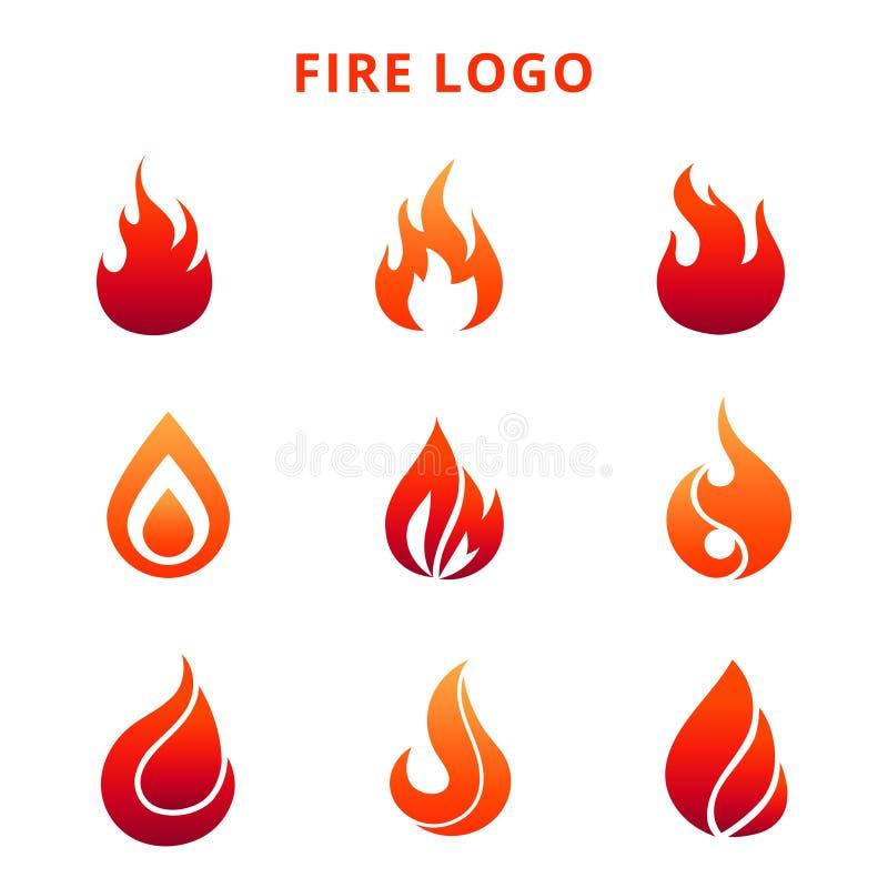 Kleurrijke die vlam van brandembleem op witte achtergrond wordt geïsoleerd royalty-vrije illustratie
