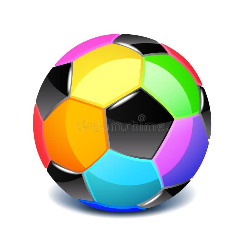 Kleurrijke die voetbalbal op witte vectorillustratie wordt geïsoleerd royalty-vrije illustratie