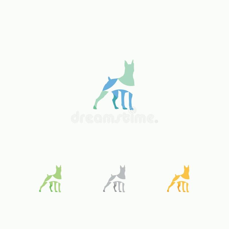 Kleurrijke dierlijke illustratie Het pictogramontwerp van de Shepardhond Huisdierenembleem stock illustratie