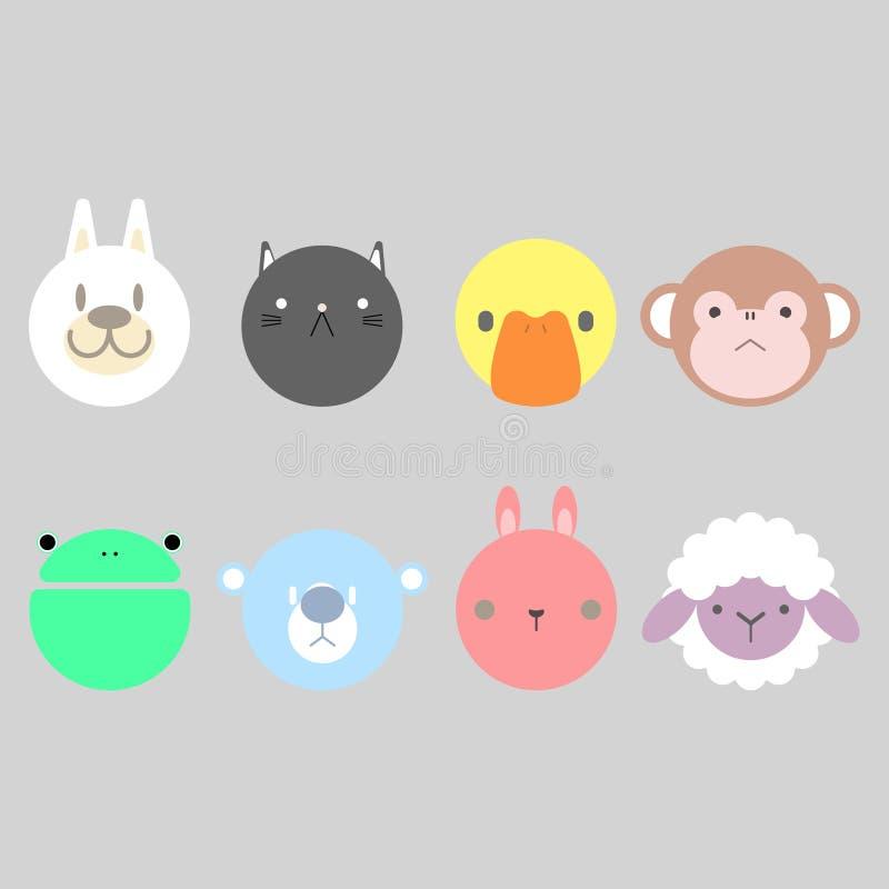 Kleurrijke dierlijke pictogramreeks vector illustratie