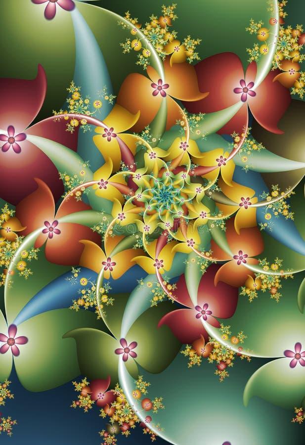 Kleurrijke digitale bloemsamenvatting royalty-vrije illustratie
