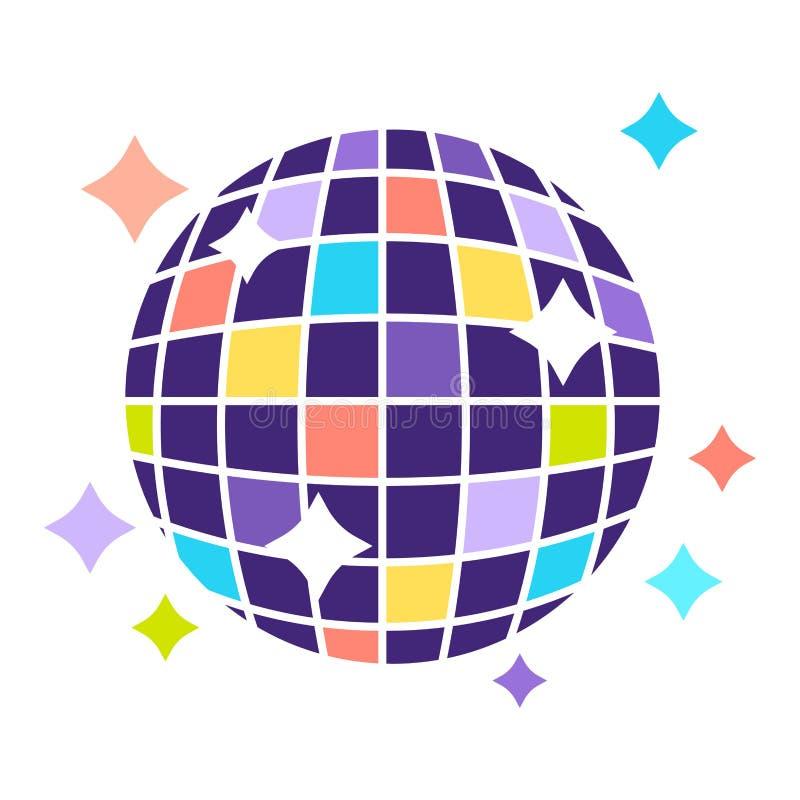 Kleurrijke discobal die heldere geïsoleerde illustratie glanst vector illustratie