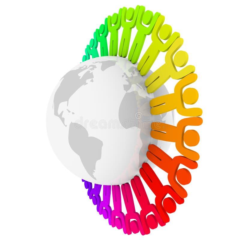 Kleurrijke Diverse Mensen rond Aarde royalty-vrije illustratie