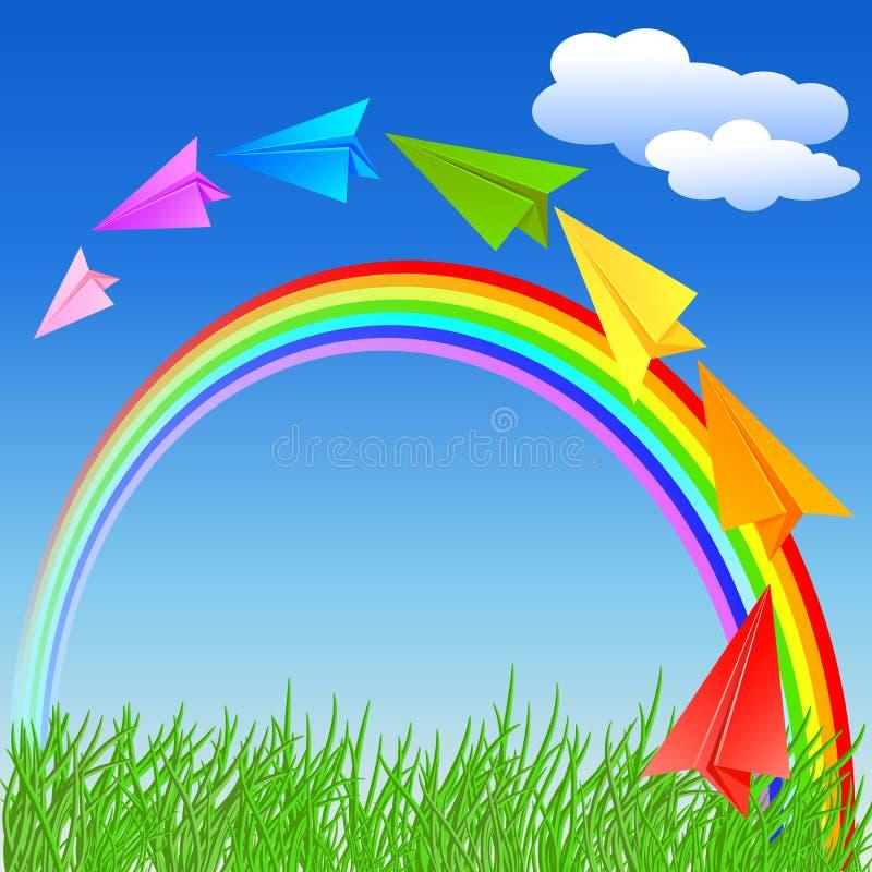 Download Kleurrijke Document Vliegtuig En Regenboog Vector Illustratie - Illustratie bestaande uit plantkunde, gebied: 54085503