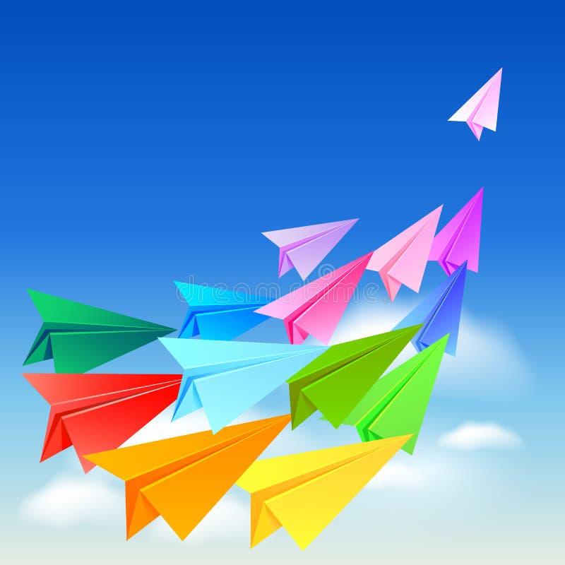Download Kleurrijke Document Vliegtuigen Vector Illustratie - Illustratie bestaande uit achtergrond, luchtvaart: 54085399