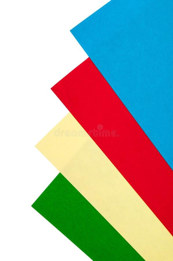 Kleurrijke documenten voor origami op de witte achtergrond stock afbeeldingen