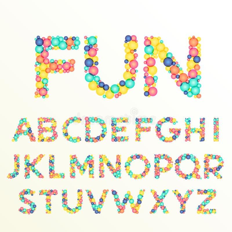kleurrijke doopvont en alfabetbrieven, het best voor het varkenskot van de pretviering royalty-vrije illustratie