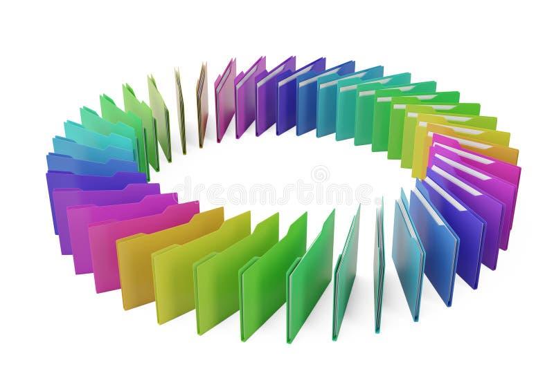 Kleurrijke dossiers op witte 3D illustratie als achtergrond royalty-vrije illustratie