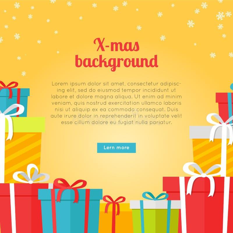 Kleurrijke Dozen op Gele Kerstmisachtergrond vector illustratie