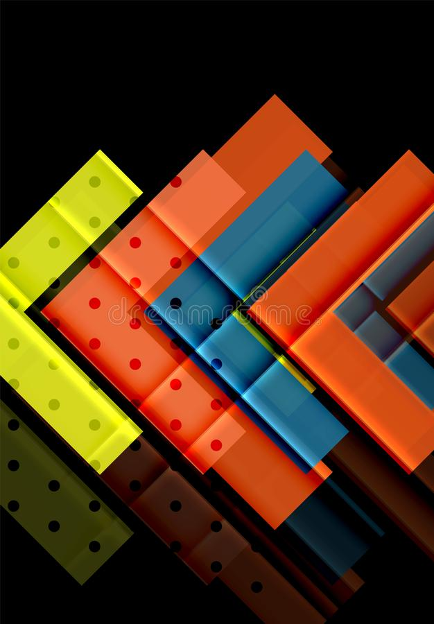 Kleurrijke driehoeken en pijlen op donkere achtergrond vector illustratie