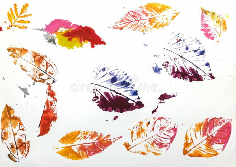 Kleurrijke druk van blad op witte achtergrond stock foto