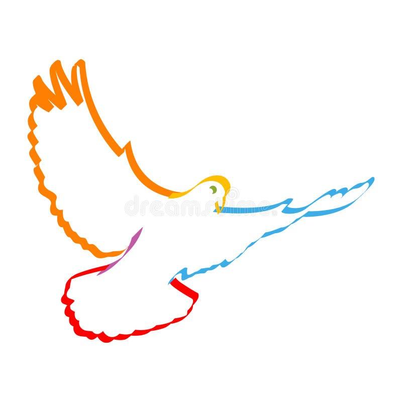 Kleurrijke duif stock illustratie