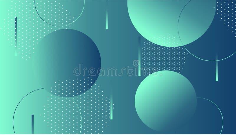 Kleurrijke dynamische vormensamenstelling op gradiëntachtergrond Geometrisch in malplaatje voor de bannervlieger van de affichede stock illustratie