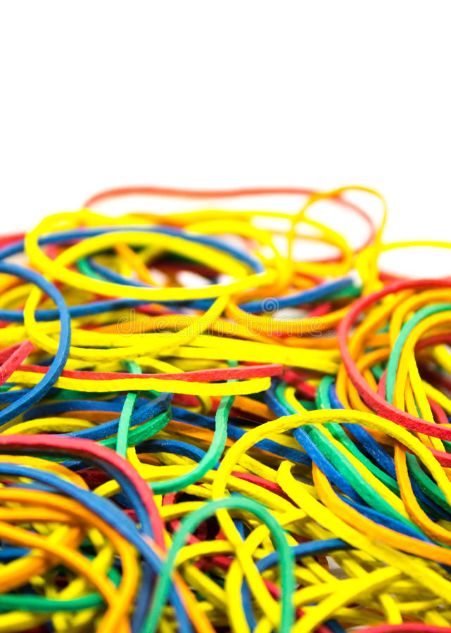 Kleurrijke elastiekjes stock foto's