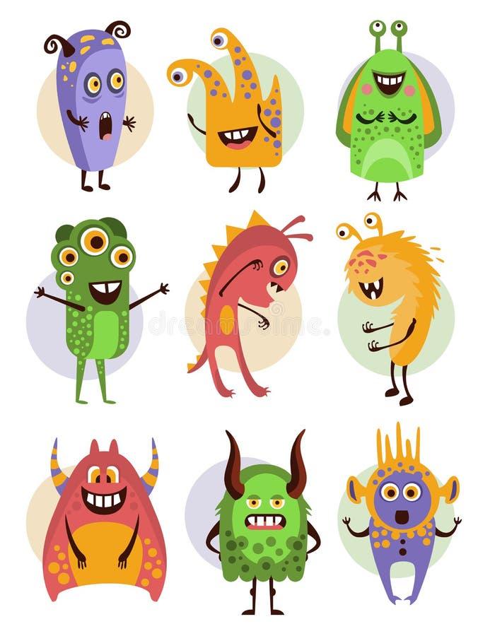 Kleurrijke Emotionele Beeldverhaalmonsters, Vector stock illustratie
