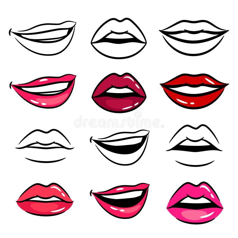 Kleurrijke en lijn vrouwelijke lippen vector illustratie