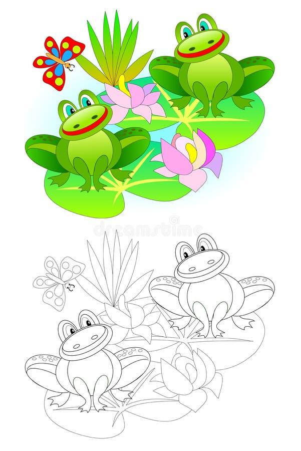 Kleurrijke en zwart-witte pagina voor het kleuren van boek vector illustratie