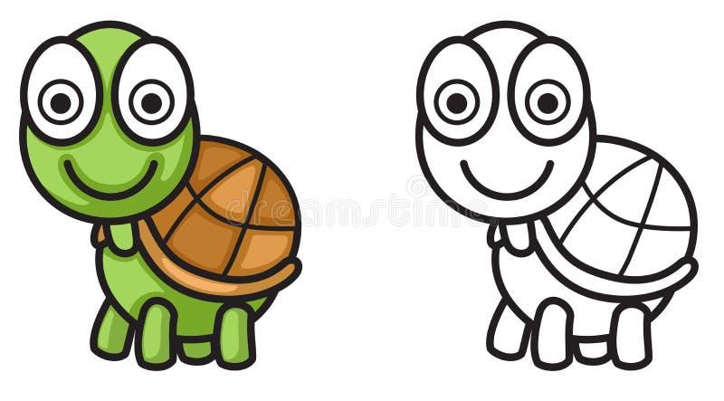 Kleurrijke en zwart-witte schildpad voor het kleuren van boek royalty-vrije illustratie