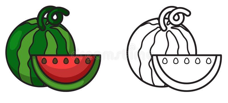 Kleurrijke en zwart-witte watermeloen voor het kleuren van boek stock illustratie