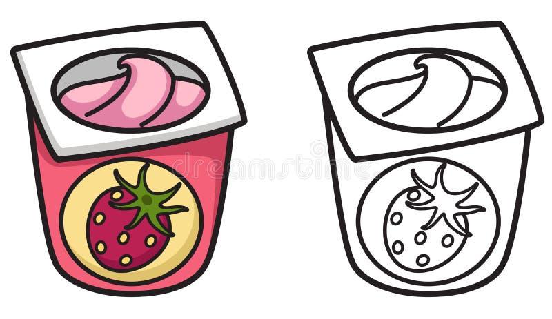 Kleurrijke en zwart-witte yoghurt voor het kleuren van boek vector illustratie