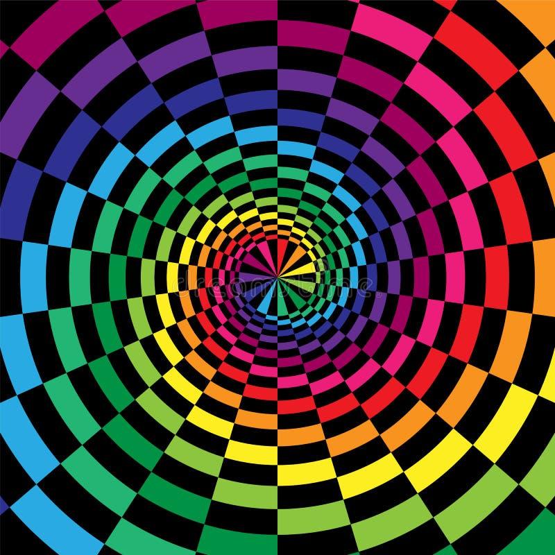 Kleurrijke en Zwarte Spiralen van zich Rechthoeken het Radiale Uitbreiden van het Centrum Optische illusie van Diepte en Volume vector illustratie