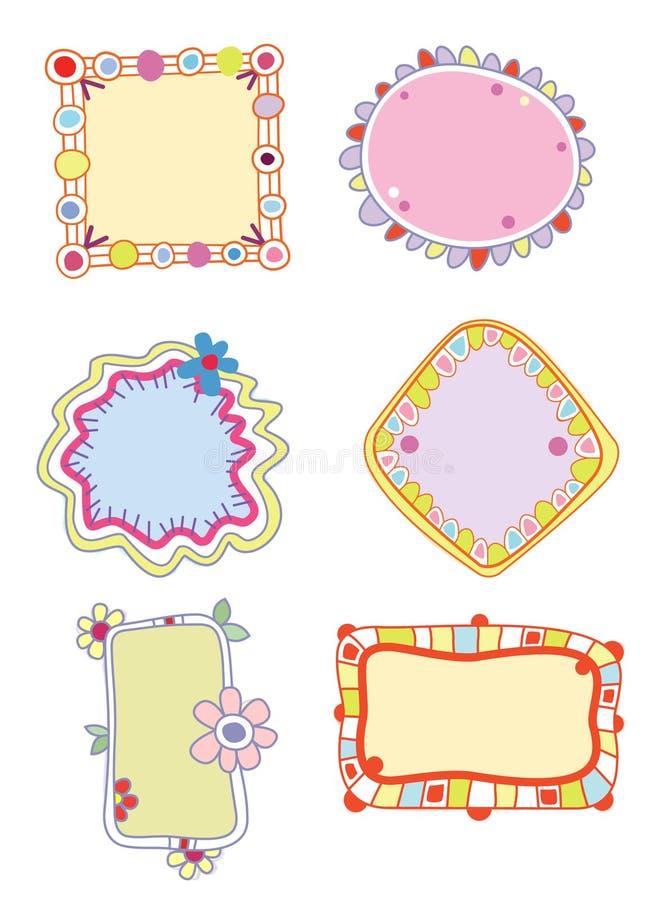 Kleurrijke Etiketten of Frames royalty-vrije illustratie