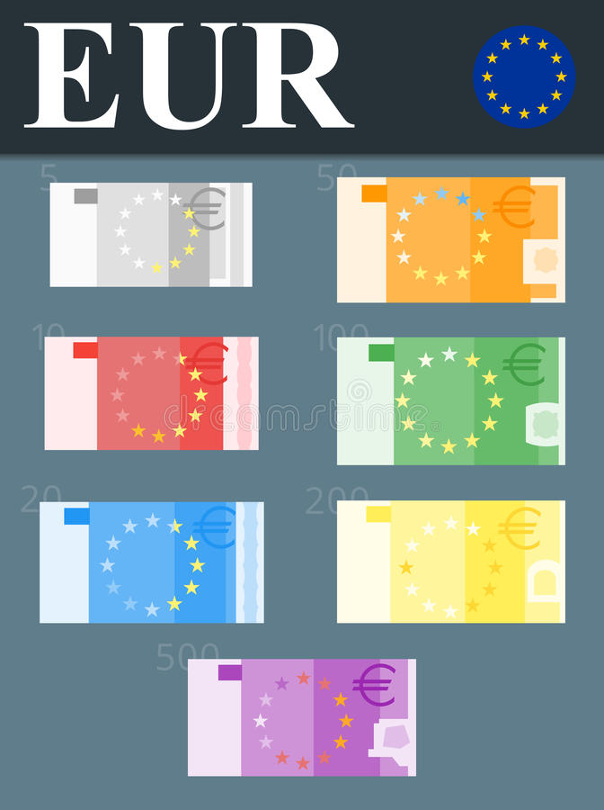 Kleurrijke euro bankbiljetten Vlakke ontwerpillustratie royalty-vrije stock foto's