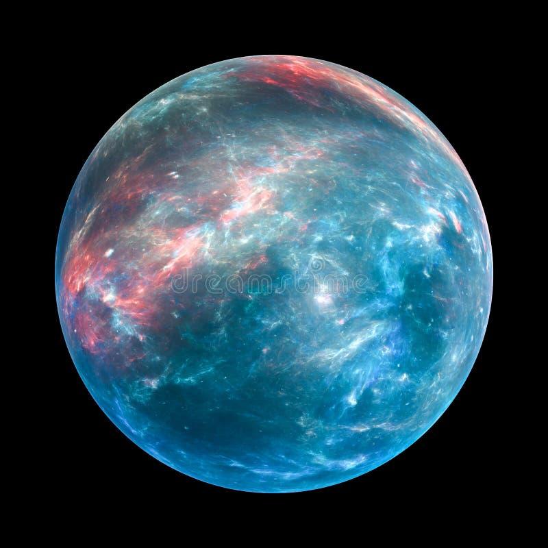 Kleurrijke exoplanet insolated op zwarte stock illustratie