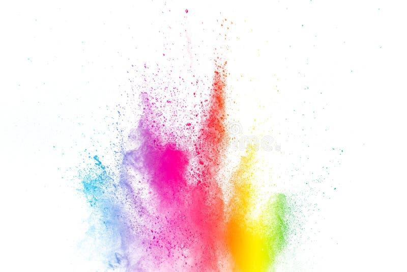Kleurrijke explosie voor Gelukkig Holi-poeder Abstracte achtergrond van kleurendeeltjes uitbarsting of het bespatten stock fotografie