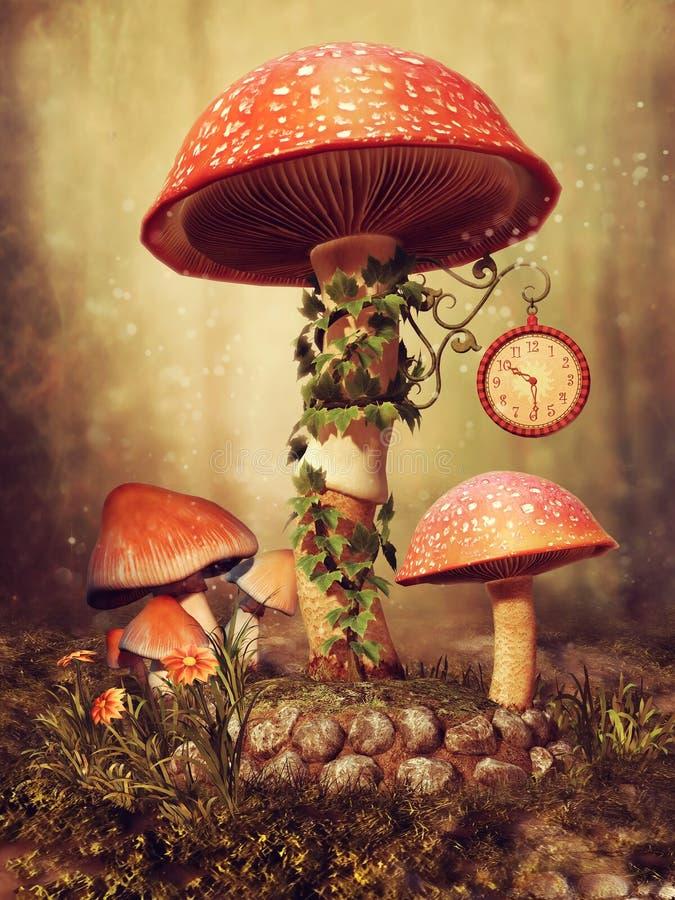 Kleurrijke fairytalepaddestoelen stock illustratie