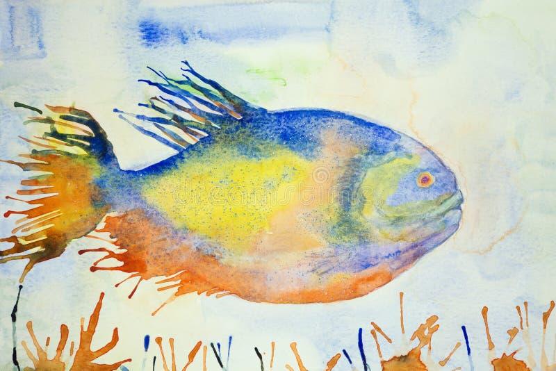 Kleurrijke fantasievissen in lichtblauw water royalty-vrije illustratie