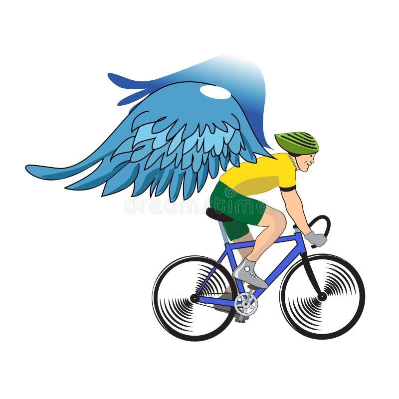 Kleurrijke fietser met geïsoleerde engelenvleugels royalty-vrije stock foto's