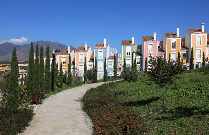 Kleurrijke flatgebouwen, Spanje royalty-vrije stock foto