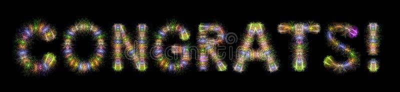 Kleurrijke fonkelende het vuurwerk horizontale zwarte rug van de Congratstekst royalty-vrije stock fotografie