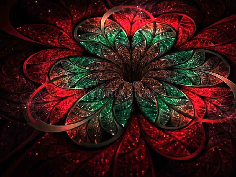 Kleurrijke fractal nam op donkere achtergrond toe stock illustratie