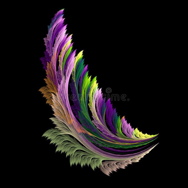 Kleurrijke fractal samenvatting zoals vleugel op zwarte achtergrond royalty-vrije stock afbeelding