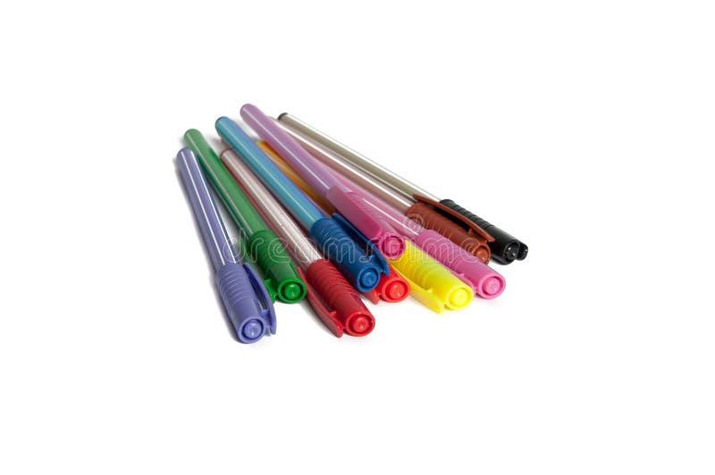 Kleurrijke geïsoleerde pennen of tellers stock foto's