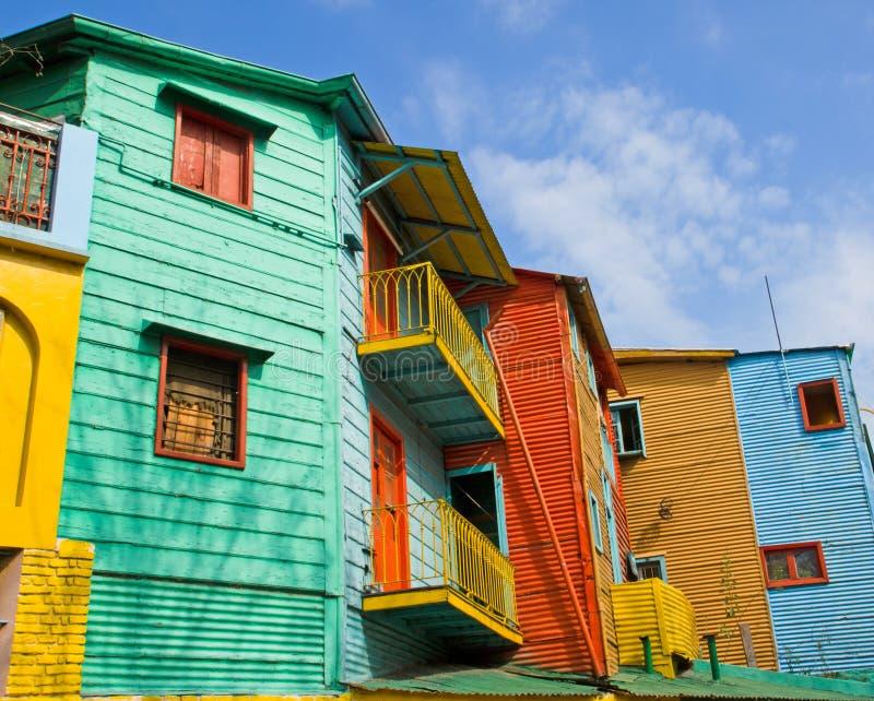 Kleurrijke gebouwen in La Boca stock afbeelding