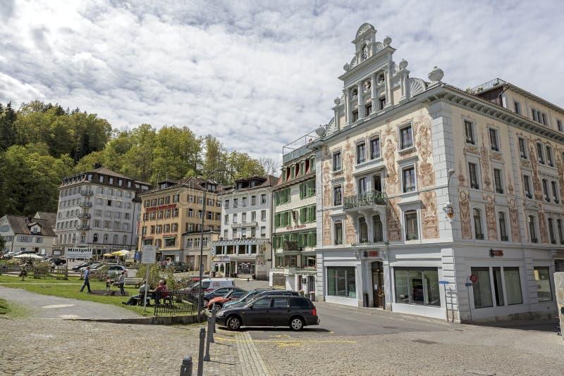 Kleurrijke gebouwen van Einsiedeln stock afbeelding