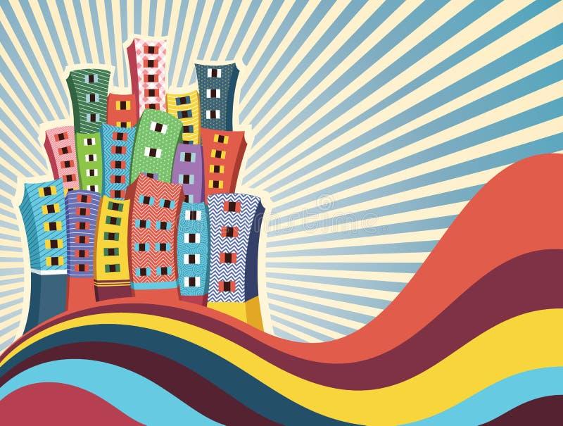Kleurrijke Gebouwen Vectorillustratie Stock Fotografie