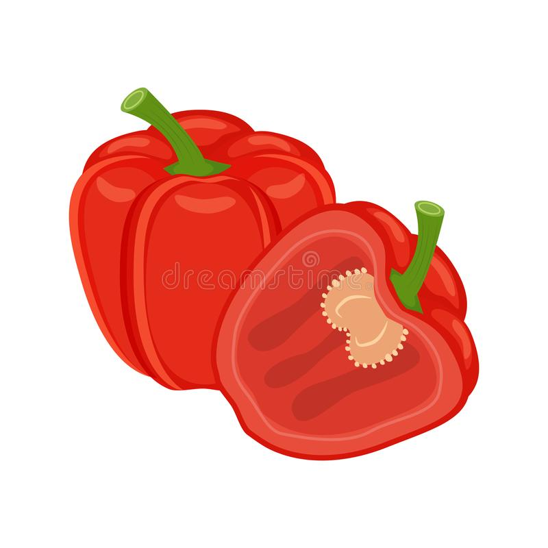 Kleurrijke gehele en half rode groene paprika plantaardige vector illust royalty-vrije illustratie