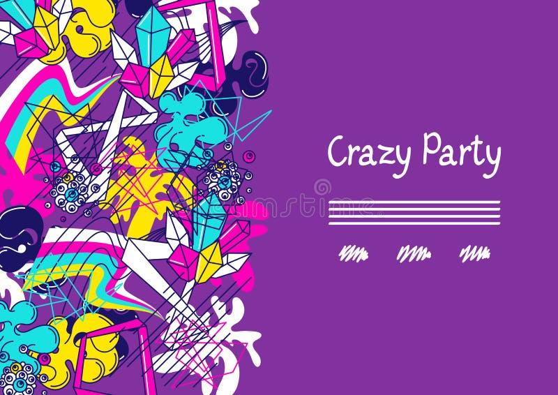 In kleurrijke gekke partij als achtergrond Abstracte moderne kleurenelementen in graffitistijl stock illustratie