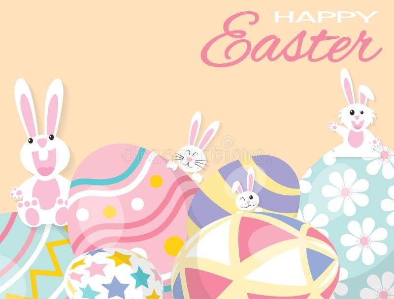 Kleurrijke Gelukkige Pasen-Groetkaart met Konijn, Konijntje en Eieren stock illustratie