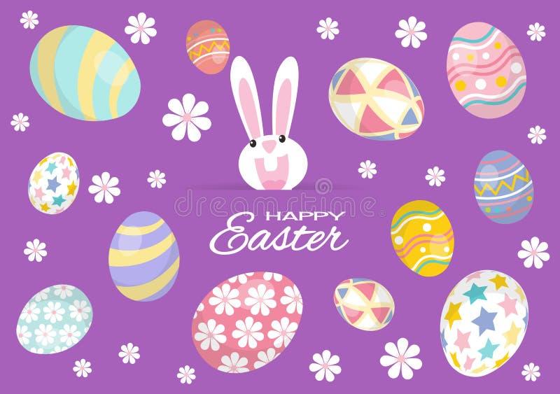 Kleurrijke Gelukkige Pasen-Groetkaart met Konijn, Konijntje en Eieren royalty-vrije illustratie